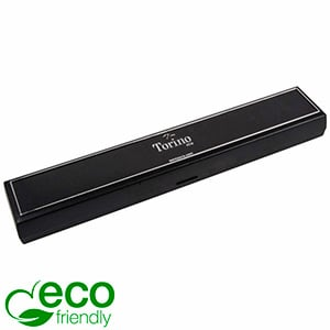 Torino ECO Jewellery Box for Bracelet Black recycled plastic/ Silver tooling/ Black Foam 215 x 35 x 21