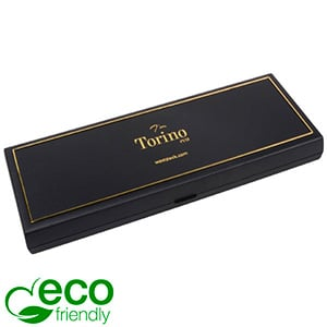 Torino ECO Oblong Jewellery Box for Necklace Black recycled plastic/ Gold tooling/ Black Foam 205 x 72 x 23