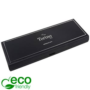 Torino ECO Oblong Jewellery Box for Necklace Black recycled plastic/ Silver tooling/ Black Foam 205 x 72 x 23
