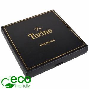 Torino ECO écrin collier, intérieur plat Plastique recyclé noir/Outil or/Mousse noire 160 x 160 x 23