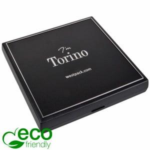 Torino ECO écrin collier, intérieur plat Plastique recyclé noir/Outil argent/Mousse noire 160 x 160 x 23