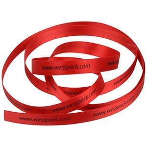 Satin ribbon with raised print, narrow Red  9 mm x 91,4 m