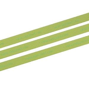 Geribbeld Satijnlint met gladde bedrukking, smal Lime  9 mm x 91,4 m
