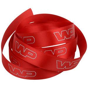 Ruban satin personalisé, sérigrafie à plat Rouge  16 mm x 91,4 m
