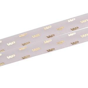 Organzalint met verheven logobedrukking Lichtroze  25 mm x 45,7 m