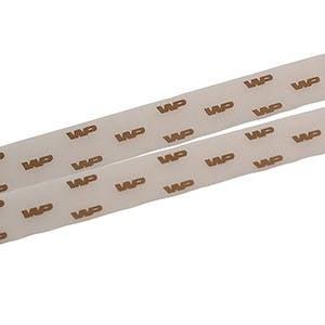 Organzalint met verheven logobedrukking Bruin  25 mm x 45,7 m