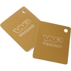 Cadeaukaartjes met logobedrukking, éénzijdig Goud karton 45 x 55