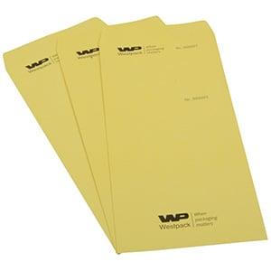 Reparationspose med logo, nr og afrivningsstykke Nummereret gul pose med afrivning, med sort tryk 110 x 240