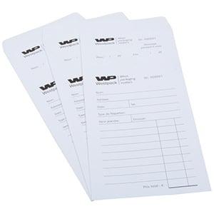 Sachets réparation préimprimé, pour bijoux Sachet blanc numéroté avec reçu / Texte français 110 x 240