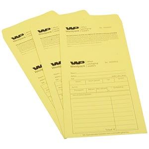 Sachets réparation préimprimé, pour bijoux Sachet jaune numéroté avec reçu/ Texte néerlandais 110 x 240
