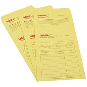 Voorbedrukte retourenveloppe met tweekleurig logo Genummerd geel zakje met reçu / Nederlandse tekst 110 x 240