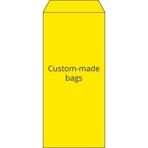 Reparatiezakje, bedrukt naar eigen ontwerp Geel zakje, met logo opdruk in 2 kleuren 110 x 240