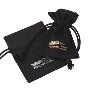 Linen Pouch, mini Black 70 x 90