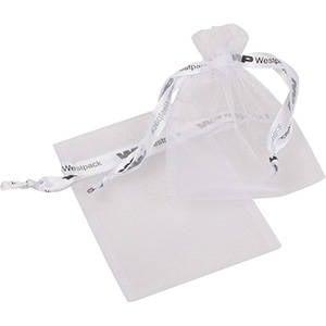 Grootverpakking Klein Organzazakje, logo op lint Wit 90 x 120