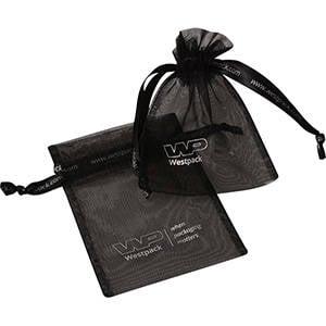 Petite Bourse voile organdi, logo sur bourse+ruban Noir 90 x 120