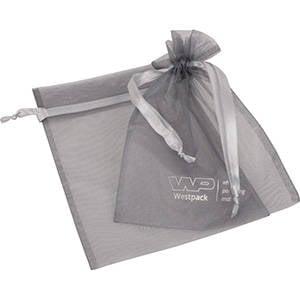 Grootverpakking Groot Organzazakje, met 2x logo Zilvergrijs 180 x 240