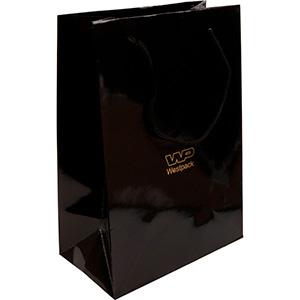Torebka błyszcząca ze sznureczkiem, duża Kolor czarny 250 x 180 x 100