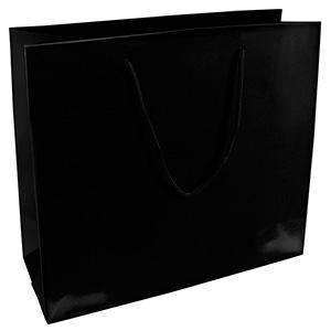 Torebka błyszcząca ze sznureczkiem xl Kolor czarny 280 x 250 x 115