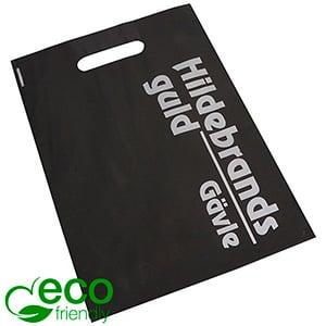 Torebka solidna z nadrukiem logo, mała Czarna matowa z nadrukiem logo jednokolorowe 250 x 350 50 my