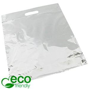 Bedrukte ECO plastic draagtasjes, groot Glanzend wit gerecycled plastic/ Logo in 1 kleur 400 x 450 50 my