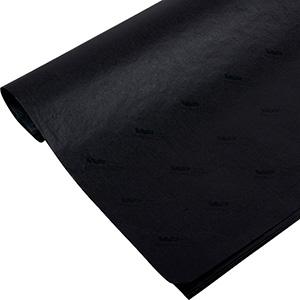 Silkepapir med logo, små ark Sort med sort tryk 375 x 500 17gsm