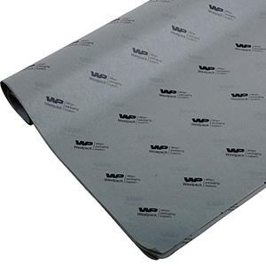 Silkepapir med logo, små ark Grå med sort tryk 375 x 500 17 gsm