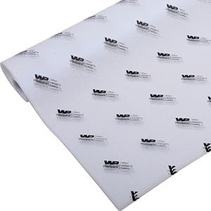 Silkepapir med logo, små ark Hvid med sort tryk 375 x 500 17 gsm