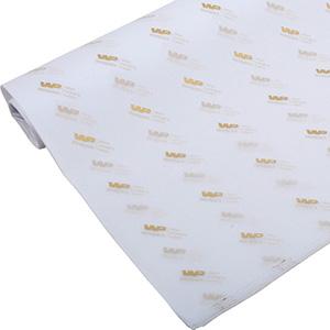 Silkepapir med logo, små ark Hvid med tryk i guld 375 x 500 17 gsm