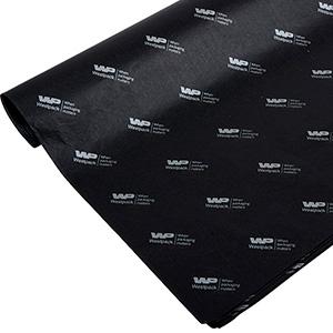 Silkepapir med logo, små ark Sort med tryk i sølv 375 x 500 17 gsm
