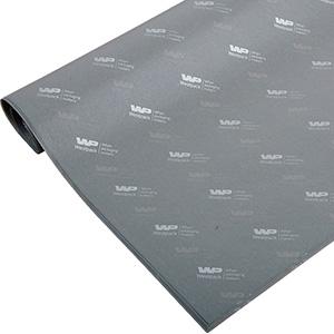 Silkepapir med logo, små ark Grå med tryk i sølv 375 x 500 17 gsm