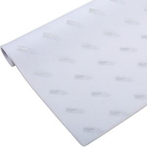 Silkepapir med logo, små ark Hvid med tryk i sølv 375 x 500 17 gsm