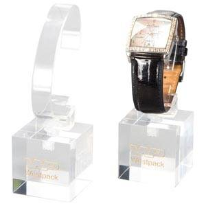 Watch display, small Transparent acryl, with logo print 40 x 40 x 40