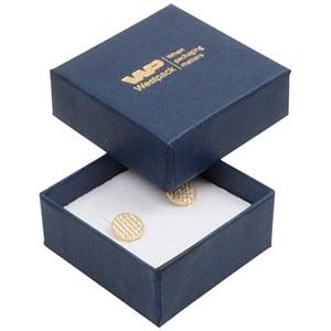 Grootverpakking -  Boston doosje oorsieraden Donkerblauw karton met linnen structuur/ Wit foam 50 x 50 x 22