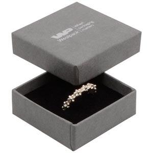 Grootverpakking -  Frankfurt doosje voor ring Grijs karton met linnen structuur / Zwart foam 50 x 50 x 17