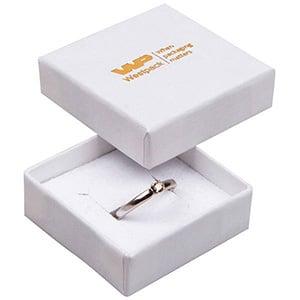 Grootverpakking -  Frankfurt doosje voor ring Wit karton met linnen structuur / Wit foam 50 x 50 x 17