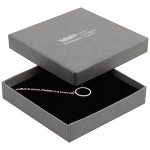 Grootverpakking -  Frankfurt doosje hanger/armband Grijs karton met linnen structuur / Zwart foam 86 x 86 x 17