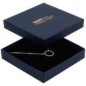 Achat en gros: Frankfurt écrin bracelet/ pendentif Carton bleu foncé, aspect lin/ Mousse noire 86 x 86 x 17