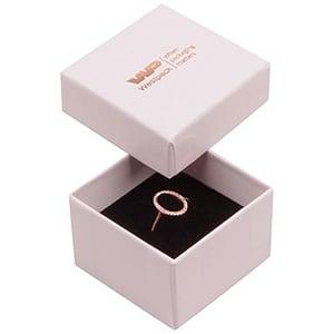 Bulk buy -  Santiago box for ring Rose Quarts cardboard / Black foam 50 x 50 x 32