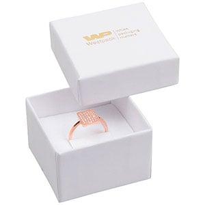 Bulk buy -  Santiago box for ring White cardboard / White foam 50 x 50 x 32