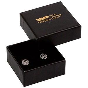 Bulk buy -  Santiago box for earrings / charms Black cardboard / Black foam 50 x 50 x 22