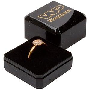 Bulk buy -  Rio box for ring Black plastic with glitter / Black foam 40 x 40 x 32