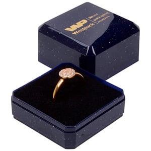 Grootverpakking -  Rio doosje voor ring Blauw plastic met glitter / Zwart foam 40 x 40 x 32