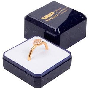 Grootverpakking -  Rio doosje voor ring Blauw plastic met glitter / Wit foam 40 x 40 x 32