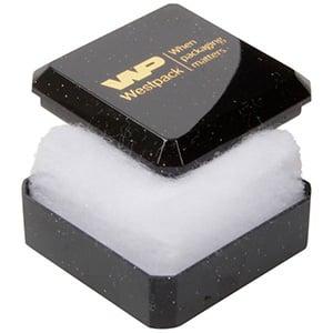Grootverpakking -  Rio doosje voor ring Zwart plastic met glitter / Witte watten 40 x 40 x 18