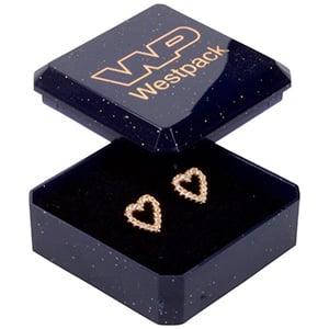 Storkøb -  Rio smykkeæske til øreringe/ ørestikker Blå plastik med glitter / Sort skumindsats 40 x 40 x 18