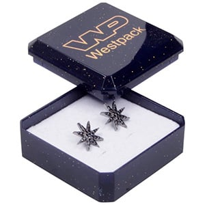 Storkøb -  Rio smykkeæske til øreringe/ ørestikker Blå plastik med glitter / Hvid skumindsats 40 x 40 x 18
