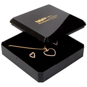 Grootverpakking -  Rio doosje hanger/ broche Zwart plastic met glitter / Zwart foam 80 x 80 x 24