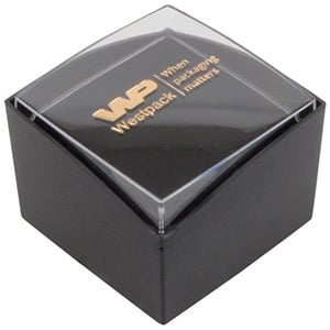 Bulk buy -  Copenhagen Open box for ring Transparent lid, black base / Black foam 43 x 43 x 32