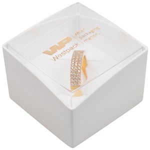 Bulk buy -  Copenhagen Open box for ring Transparent lid, white base / White foam 43 x 43 x 32