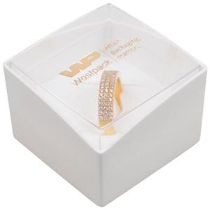 Grootverpakking -  Copenhagen Open doosje ring Transparant deksel, witte bodem / Wit foam 43 x 43 x 32